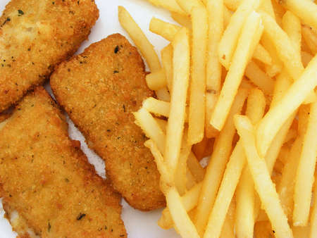 breading: Amercanized fish and chips. Stock Photo