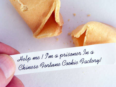 A fortune cookie with a humorous message.