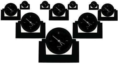 Clocks arranged in rows representing the cliche of time after time. Banco de Imagens