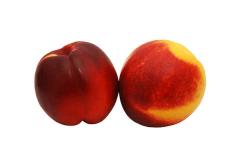 Two nectarines isolated against a white background.