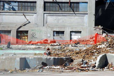 Part of an old factory in the process of being demolished.