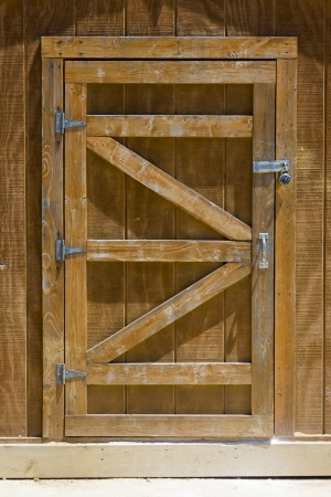 locked: Locked Wooden Shed Door Stock Photo