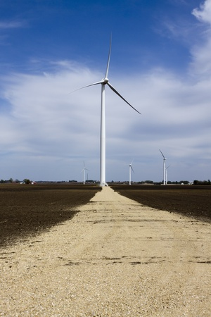 Wind Turbine on Windmill Farm with Access Road photo