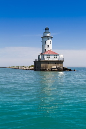 Chicago harbor lighthouse in the summer photo