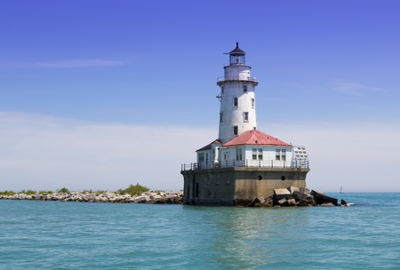 guard house: Chicago harbor lighthouse in the sunny weather