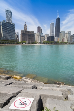 no swimming: Chicago skyline with no swimming area Stock Photo