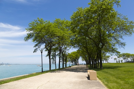 Chicago public waterfront Olive Park in summertime photo