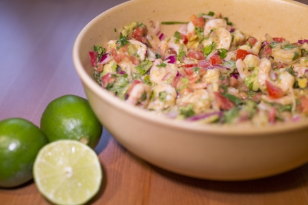 bowl of delicious latin shrimp ceviche