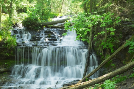 Wagner Falls cascade in Munising Upper Peninsula, Michigan 版權商用圖片