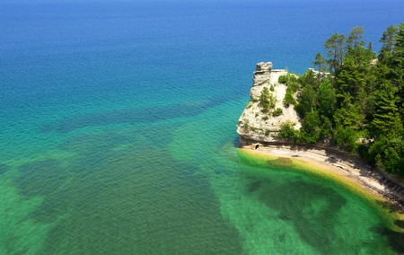 pictured: Miners Castle Pictured Rocks National Park waterscape view Stock Photo