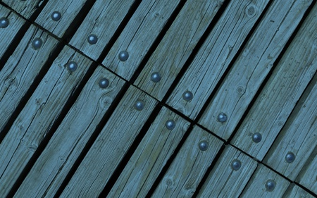 diagonal: diagonal blue wooden texture background with rivets close up