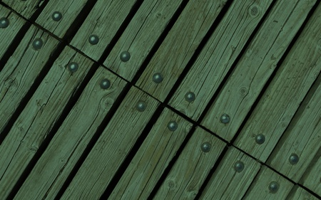 diagonal deep forest green wooden texture background with rivets close up photo