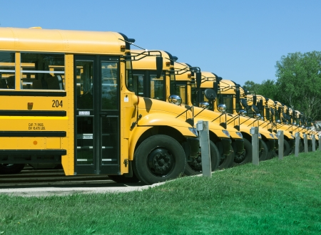 yellow school buses in parking lot