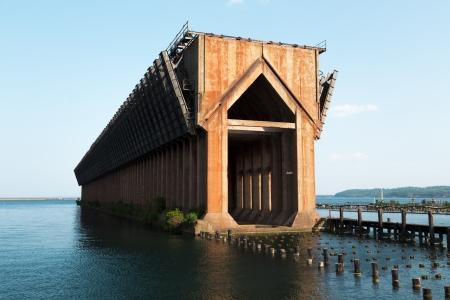 marquette: old ore dock in Marquette harbor Stock Photo