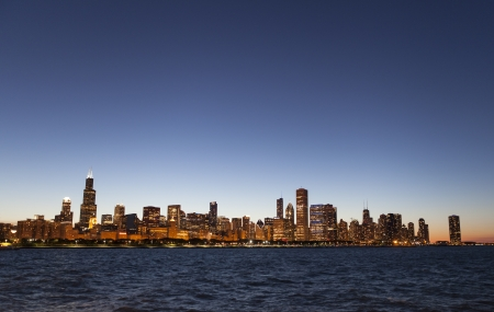 Chicago lakeshore skyline by night photo