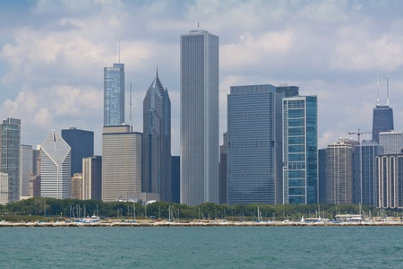Chicago downtown skyline with boat marina photo