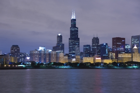 Chicago lakeshore skyline by night with colorful illumination photo