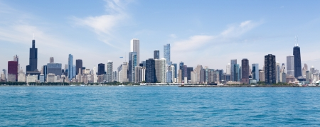 Chicago city summertime skyline by the lake photo