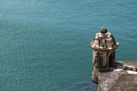 Historic Spanish sentry box overlooking San Juan Bay in Puerto Rico