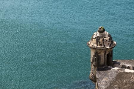sentry: Historic Spanish sentry box overlooking San Juan Bay in Puerto Rico