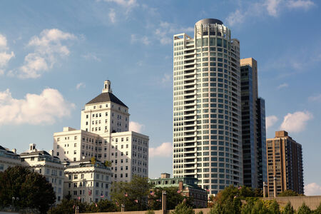university of wisconsin: condominiums and university buildings in downtown Milwaukee, Wisconsin Editorial