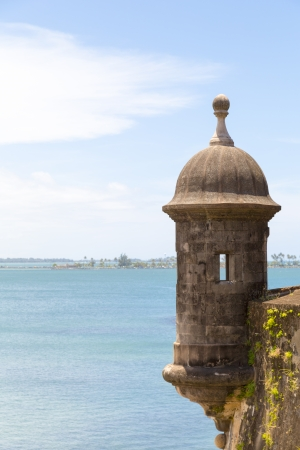 sentry: Historic Spanish lookout tower by San Juan Bay in Puerto Rico
