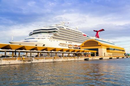Caribbean cruise ship anchored in the dock in San Juan, Puerto Rico
