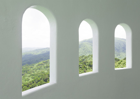 Scenic view of El Yunque National Rainforest through three windows at elevated observation point 版權商用圖片