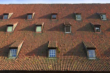 Dak met oude tegels en gaupenfenster royalty vrije foto plaatjes