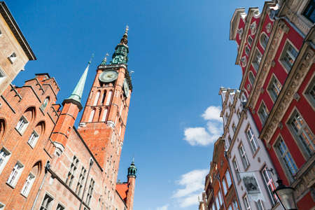 tenement: Old town by Long Lane in Gdansk, Poland with Town Hall and colorful tenement houses