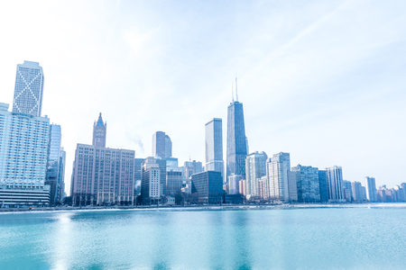 Chicago downtown panorama by the lake on a winter day 版權商用圖片