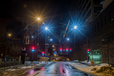 Chicago downtown  city street view at night with traffic lights