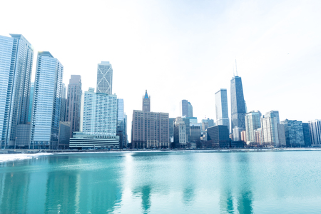 Chicago downtown panorama by the lake on a winter day 写真素材 - 97057303
