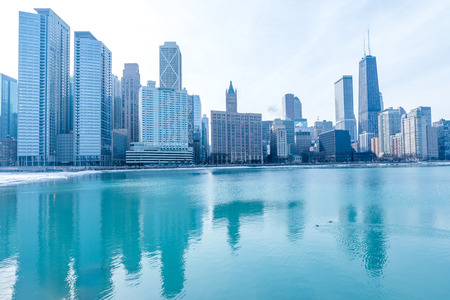 Chicago downtown panorama by the lake on a winter day 写真素材