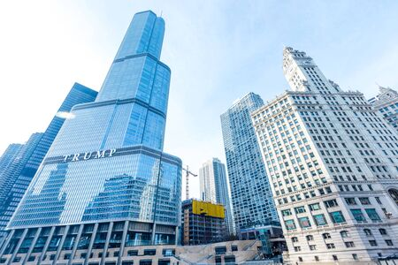 CHICAGO, ILLINOIS (USA) - FEBRUARY 18th, 2018: Trump Tower and Wrigley Building in Chicago downtown