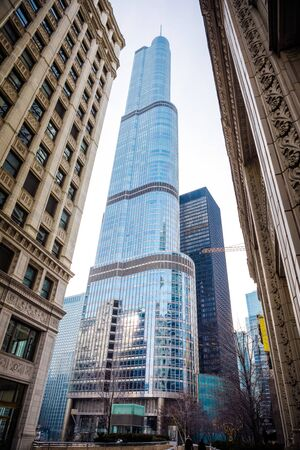 CHICAGO, ILLINOIS (USA) - FEBRUARY 18th, 2018: Trump Tower building in Chicago downtown