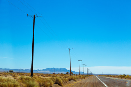Neglected part of Route 66 in American desert land in California