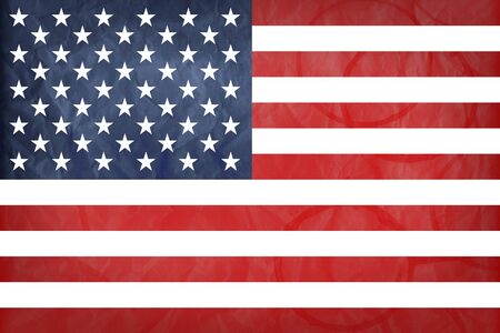 USA flag with vintage look on stained paper background