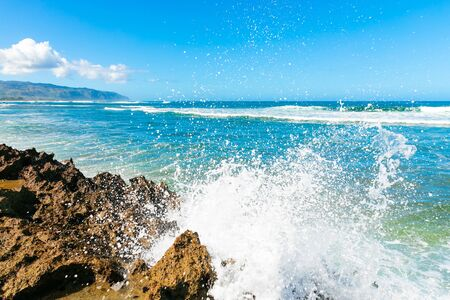 Wave splash against rocky shore in Hawaii