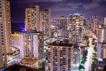 Honolulu downtown hotels view at night