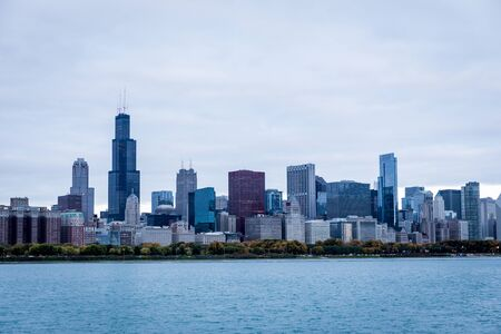 Chicago skyline panorama in the fall on overcast day
