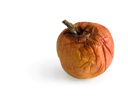 abominable: Rotten disgusting apple on a white background Stock Photo