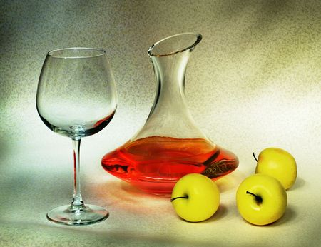 decanter: Decanter and apples (still-life) Stock Photo