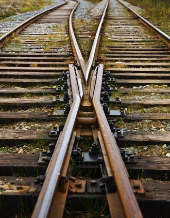 Two railway ways forming a fork photo