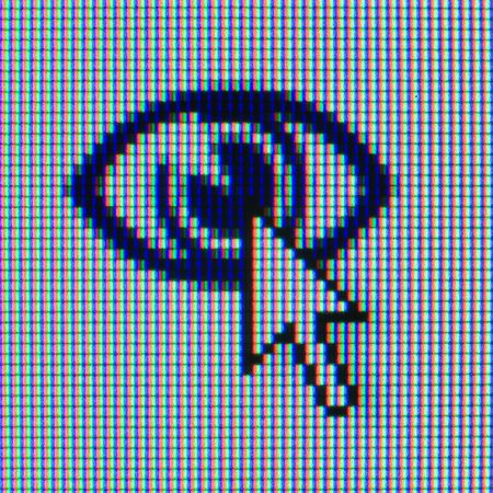 Macrophoto of a matrix of the monitor with an icon and the cursor Stock Photo - 3349796