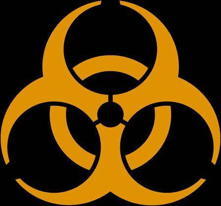 Biohazard - an orange emblem on a black background Stock Photo - 3359416