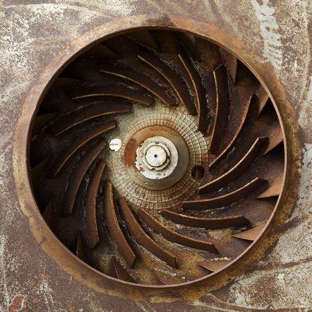 impeller: Metal painted old rusty turbine Stock Photo