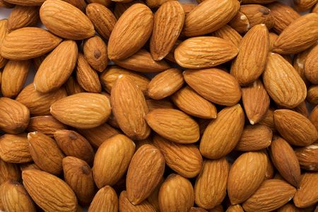 cleared: The cleared almond nut to scatter on a surface Stock Photo