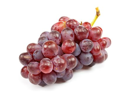 Cluster of ripe grapes on a white background photo