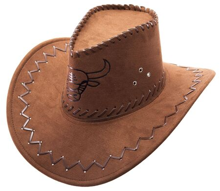 Lonely cowboys hat on a white background with the image of the bull Stock Photo